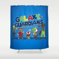 guardians of the galaxy Shower Curtains featuring Galaxy of Guardians by DoodleHeadDee