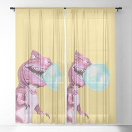 Bubble Gum Pink T-rex in Yellow Sheer Curtain