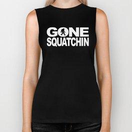 Gone Squatchin' Bigfoot With Bigfoot Silhouette Biker Tank