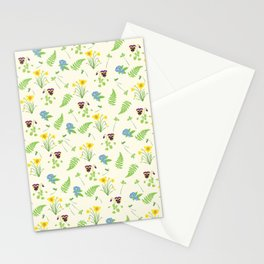 Spring Flowers and Ferns Illustrated Pattern Print Stationery Cards