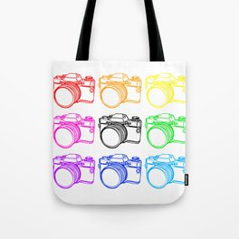 Black on White Camera Tote Bag