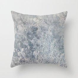 Vintage Lunar Moon Map, 1960s Throw Pillow