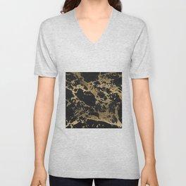 Modern faux gold glitter black marble Unisex V-Neck