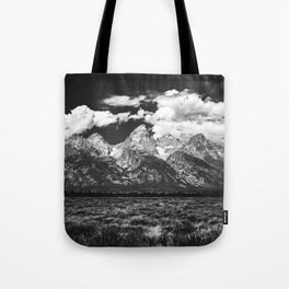 Mountain Summer Escape - Black and White Tetons Tote Bag
