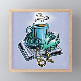 Snuggly dragon and a coffee cup Framed Mini Art Print