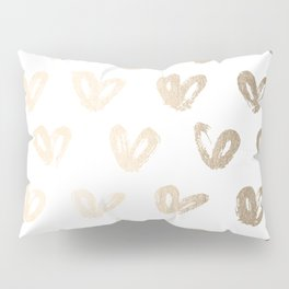 Luxe Gold Hearts on White Pillow Sham
