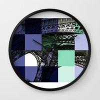 eiffel Wall Clocks featuring EIFFEL by Marcela Solana
