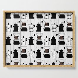 variety of classic, vintage, coffee,  grinder illustration Pattern print Serving Tray