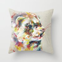 ferret Throw Pillows featuring Ferret V by Nuance