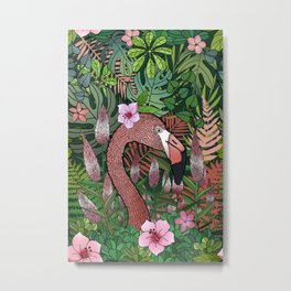 Florencia the Flamingo in her Forest Full of Florals Metal Print