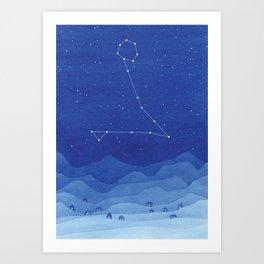 Pisces Constellation, mountains Art Print