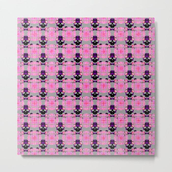 Raceway Plaid Skull and XBones: Pink, Grey, Purple Metal Print