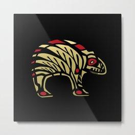 Tribal Black and Gold Bear Symbol Metal Print