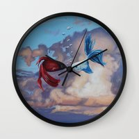 the life aquatic Wall Clocks featuring Aquatic Skies by BAM! Arts