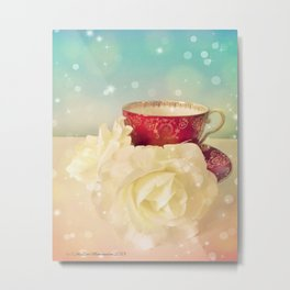 Red Teacup with White Roses Metal Print