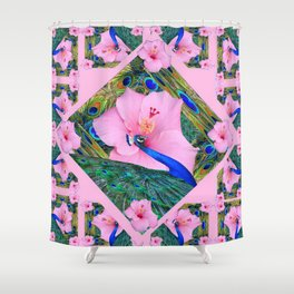 #2 PINK HIBISCUS FLOWERS BLUE-GREEN PEACOCK PATTERNS Shower Curtain