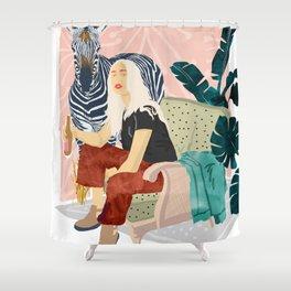Zebra Hangout Shower Curtain