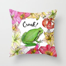 watercolor frog with lilies Throw Pillow