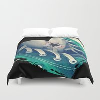 converse Duvet Covers featuring Converse Love in Black by Madison Daniels