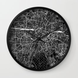 Munich Black Map Wall Clock