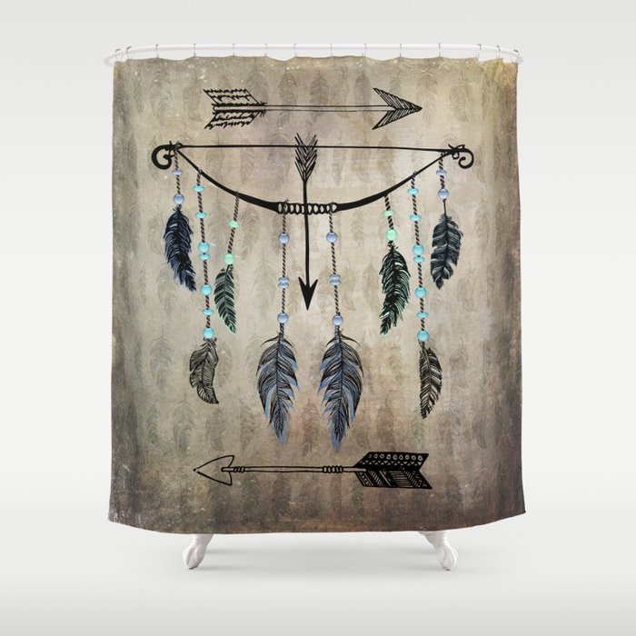 Bow Arrow And Feathers Shower Curtain