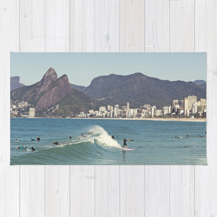 Surfing on Ipanema Beach Rug