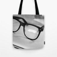 geek Tote Bags featuring Geek by Zack Skeeters