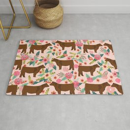 Red Angus cattle breed floral farm homestead gifts cow pattern Rug