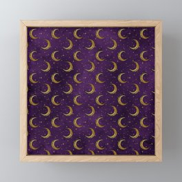 purple sky golden moon Framed Mini Art Print