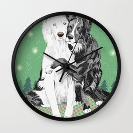 Hugging dogs Wall Clock