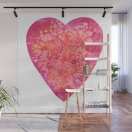 Valentine's Red Heart - watercolor Wall Mural