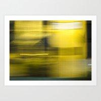 Yellow Lights Speed Effect Art Print