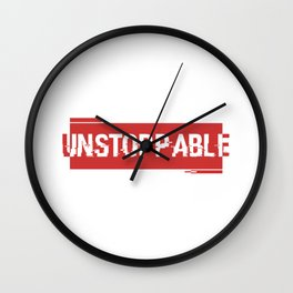 Unstoppable force red logo Wall Clock