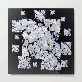 MODERN ART BLACK & WHITE FLORAL GARDEN Metal Print