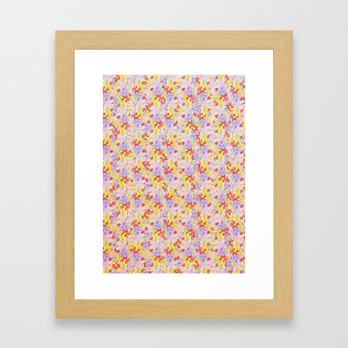 Simple Flower Pattern Framed Art Print