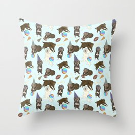 Dogs, party toys and toilet paper rolls pattern Throw Pillow