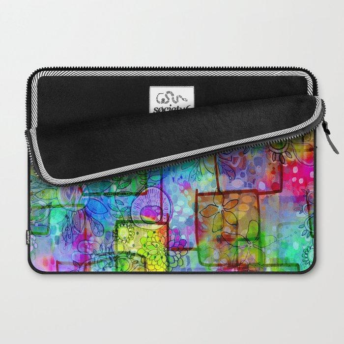 Rainbow Floral Doodle Laptop Sleeve