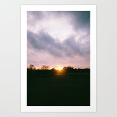 Car at Sunset in New Forest Art Print