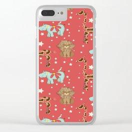 Giraffe and friends in Burnt Orange Clear iPhone Case