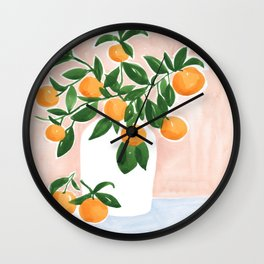 Orange Tree Branch in a Vase Wall Clock