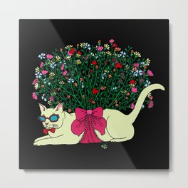 Colorful Hot Summer Cat with Bouquet of Flowers. Metal Print