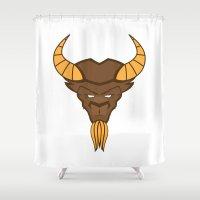 bison Shower Curtains featuring Bison by Çağla Meriç Özdemir