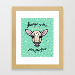 Change Your Perspective Tan Baby Cow Framed Art Print