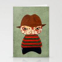 freddy krueger Stationery Cards featuring A Boy - Freddy Krueger by Christophe Chiozzi