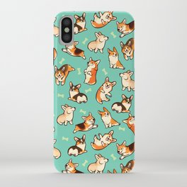 Jolly corgis in green iPhone Case