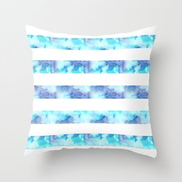 Blue & Purple Watercolor Stripes Throw Pillow
