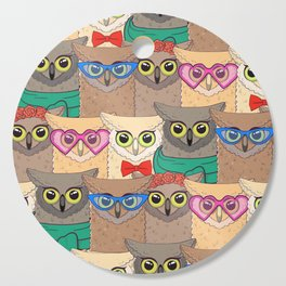 Pattern with cute owls with trendy accessories - glasses, bow-tie, flowers, scarf Cutting Board