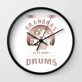 Drummers Music Lovers Drumming Musicians Real Grandpa Play Drums Gift Wall Clock
