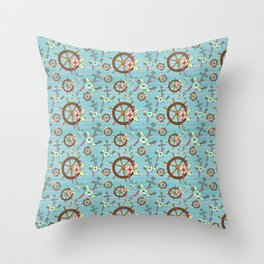Floral  Hand Drawn Anchors and Ships Wheel Pattern Throw Pillow