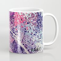 paris map Mugs featuring Paris Mosaic map #1 by Map Map Maps